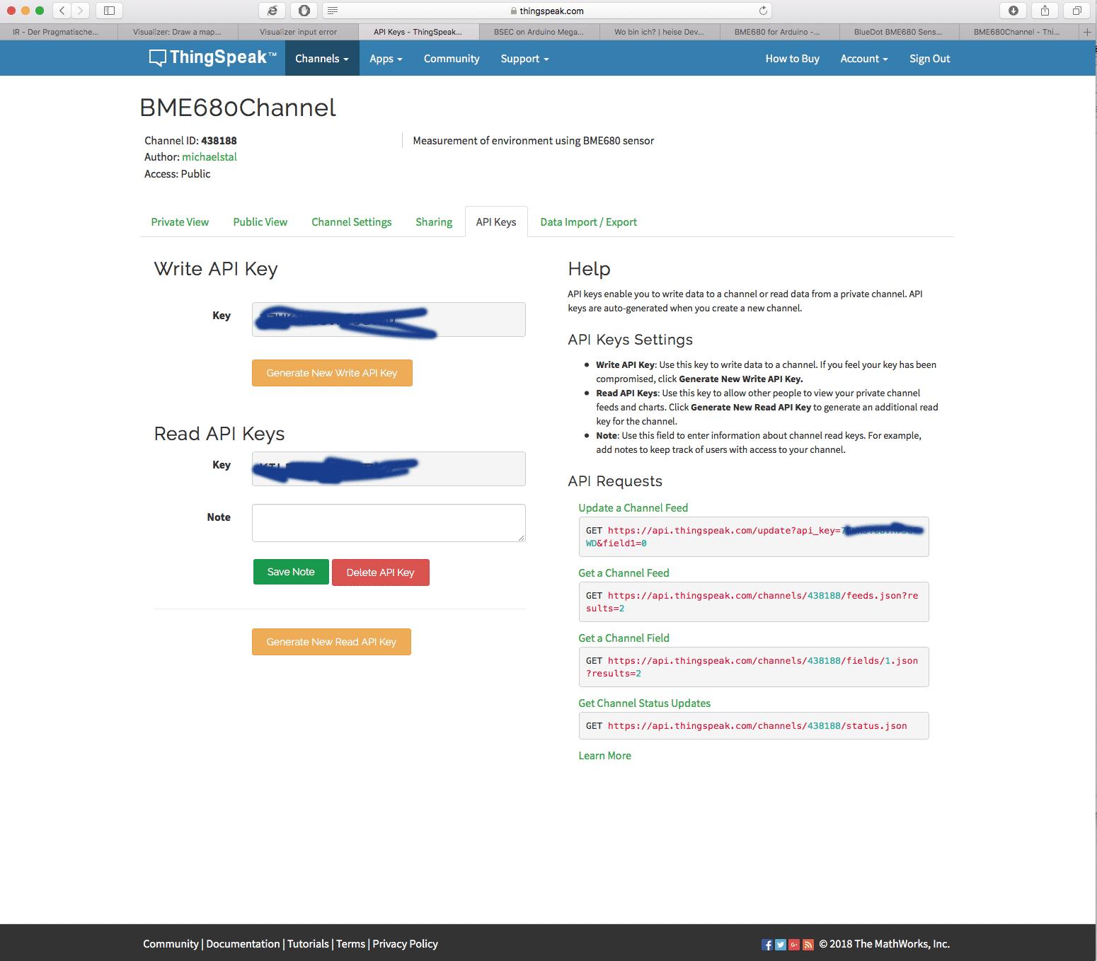 Auf der Registerkarte erfährt der IoT-Maker seine API-Schlüssel, die er später in seinen Programmen benötigt