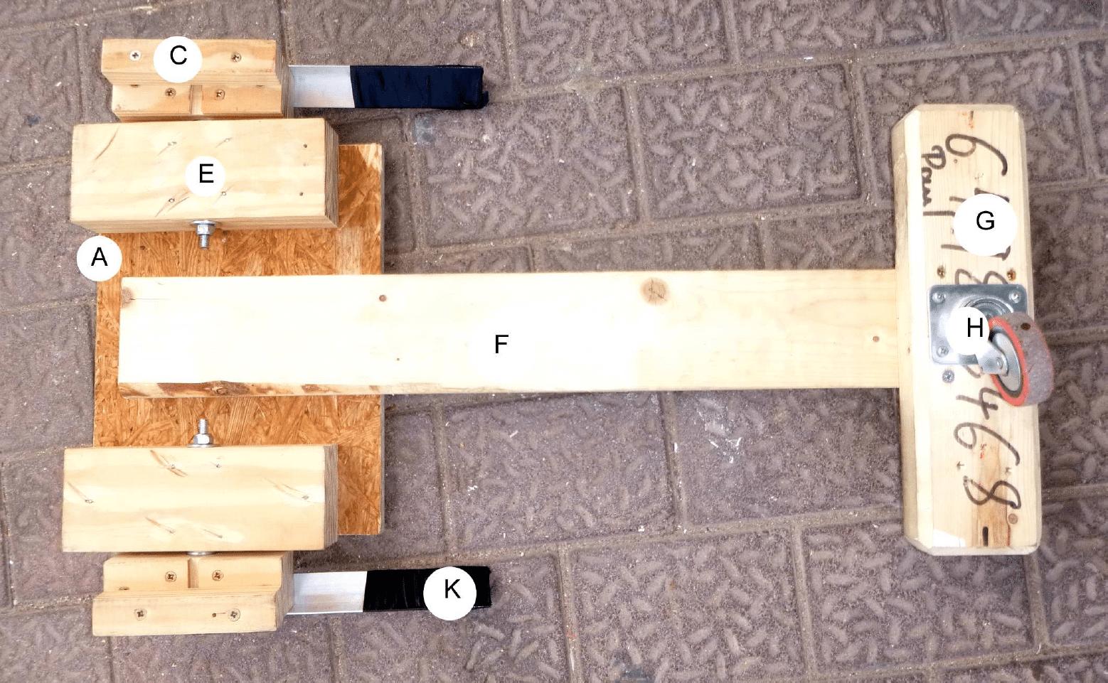 Übersicht der verwendeten Holzteile des Hoverboard-Aufsatzes
