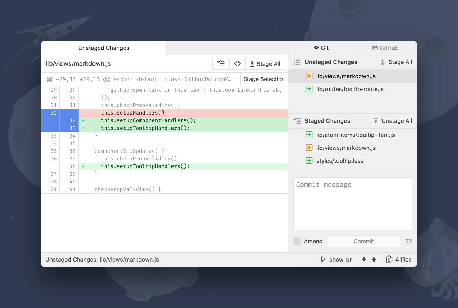 Eine eigene Pane ermöglicht den Zugriff auf diverse Git-Funktionen direkt aus Atom heraus.