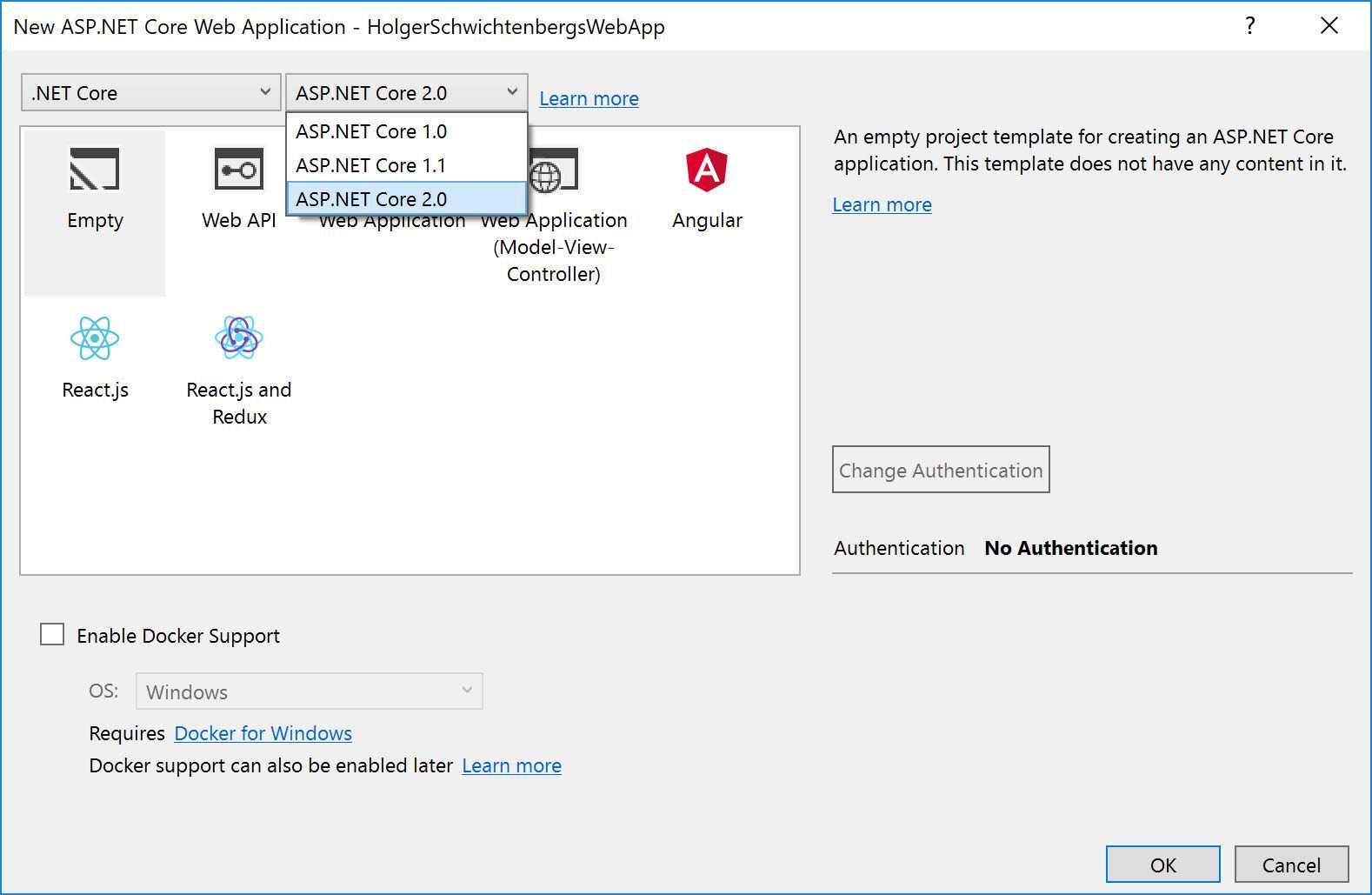 Mehr Auswahl beim Anlegen neuer ASP.NET Core-Webprojekte in Visual Studio 2017 Update 3 (Abb. 3)
