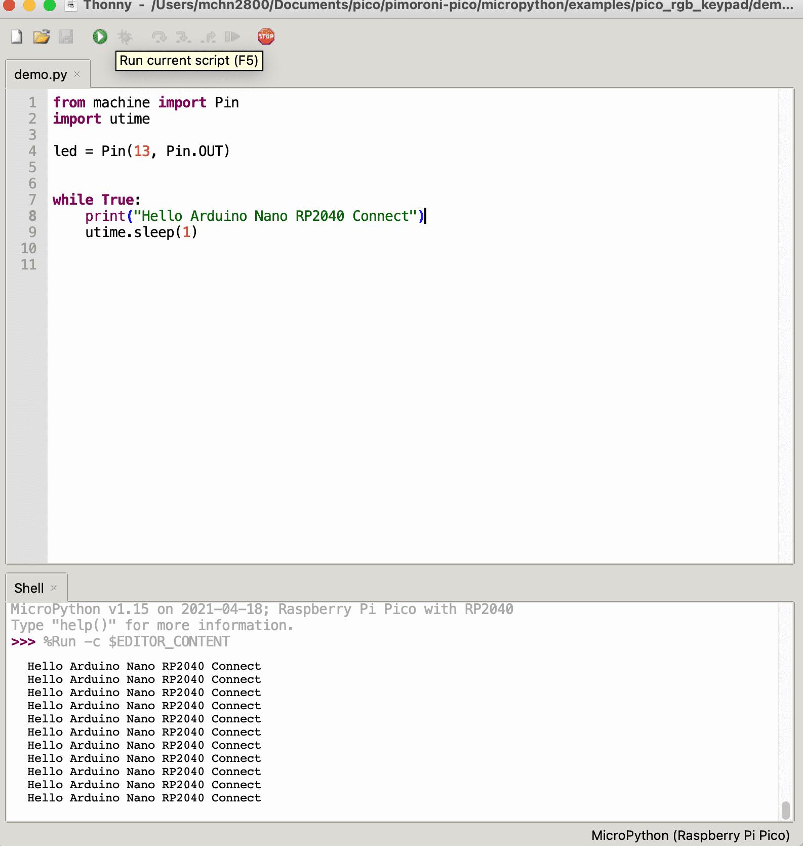 Angetestet: Dir MicroPython-Firmware für den Raspberry Pi Pico läuft auch auf dem Arduino