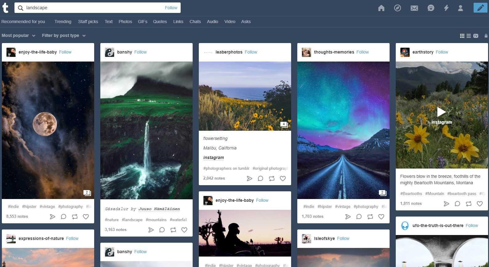 Bei Tumblr gibt es zum Beispiel auch schöne Landschaftsfotos.