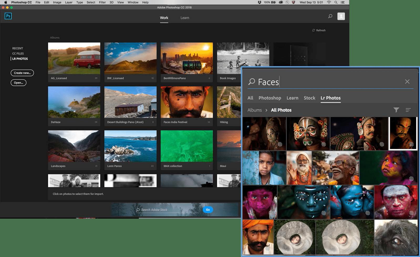 Photoshop CC greift nun direkt auf die Lightroom-Bibliothek zu.