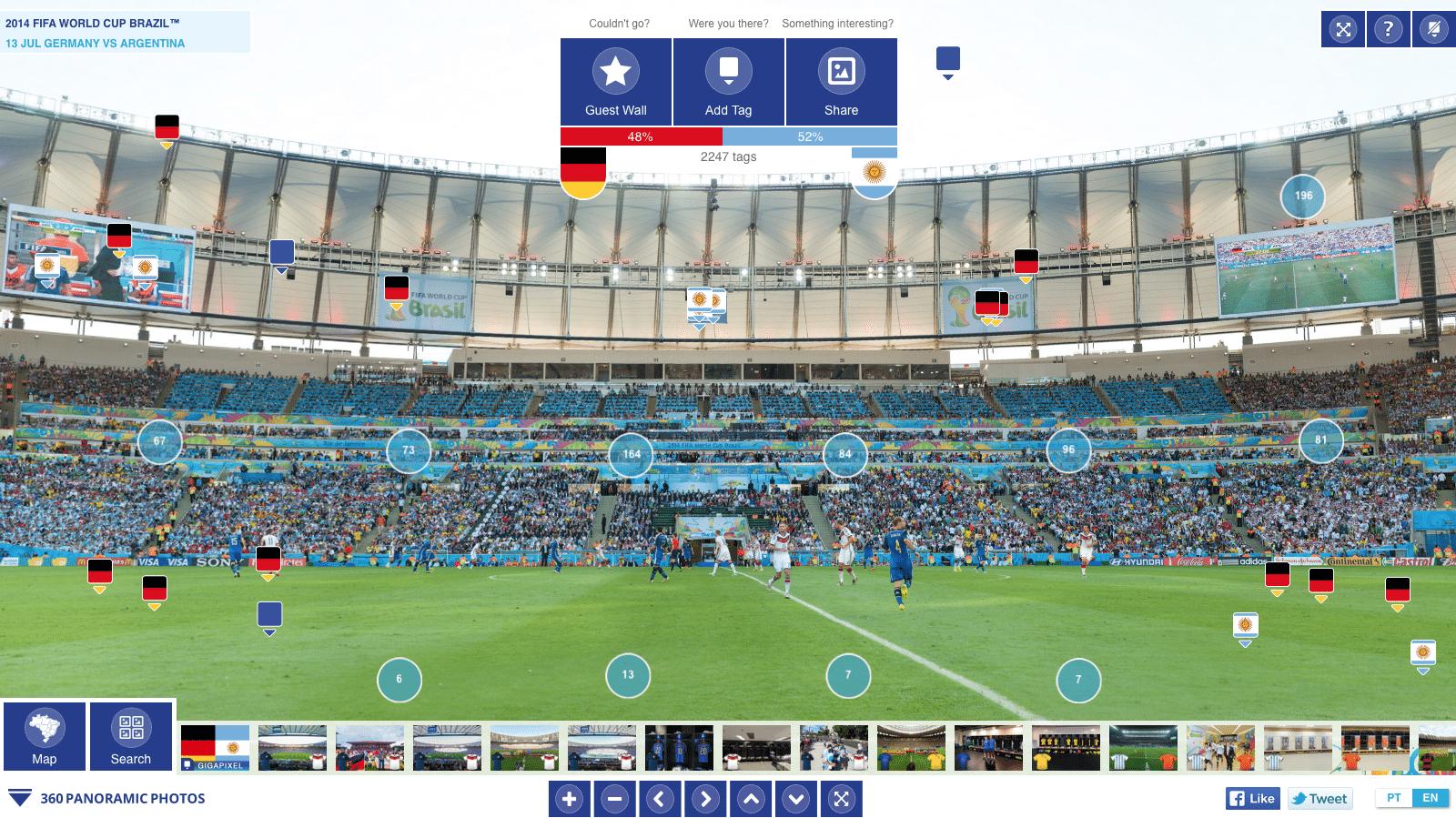 Rundumaufnahme der Fußball-Weltmeisterschaft 2014