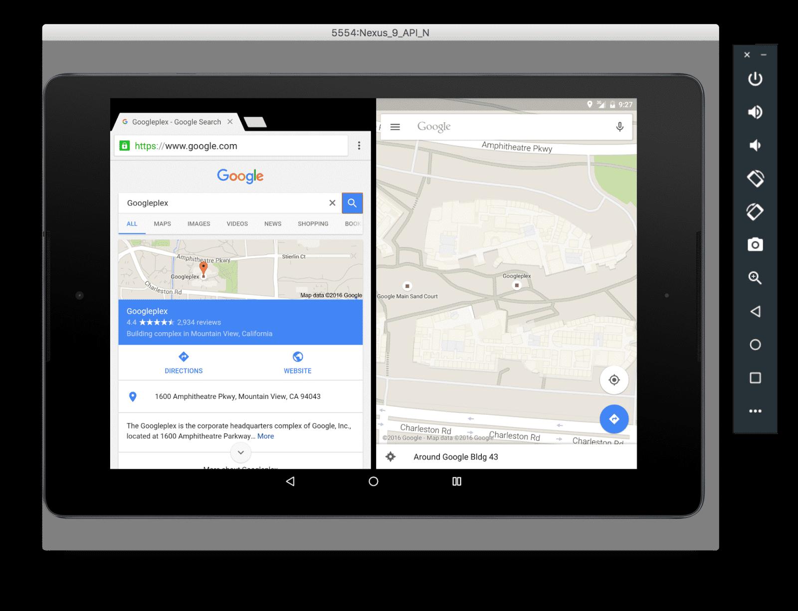 Der Emulator führt Android-N-Apps aus.