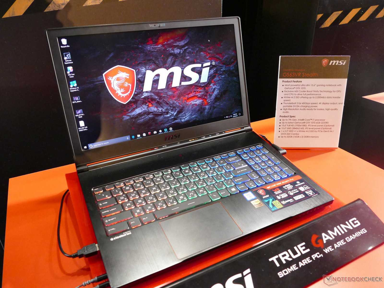MSI Ultraslim Gamer GS63 VR