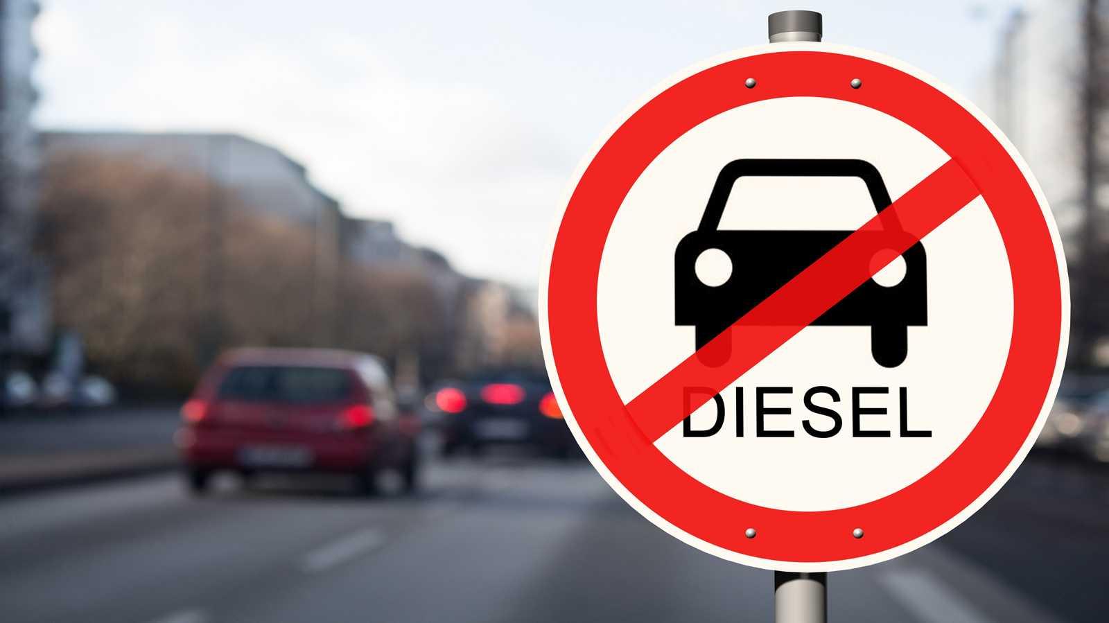 Dieselfahrverbotsschild in der Stadt