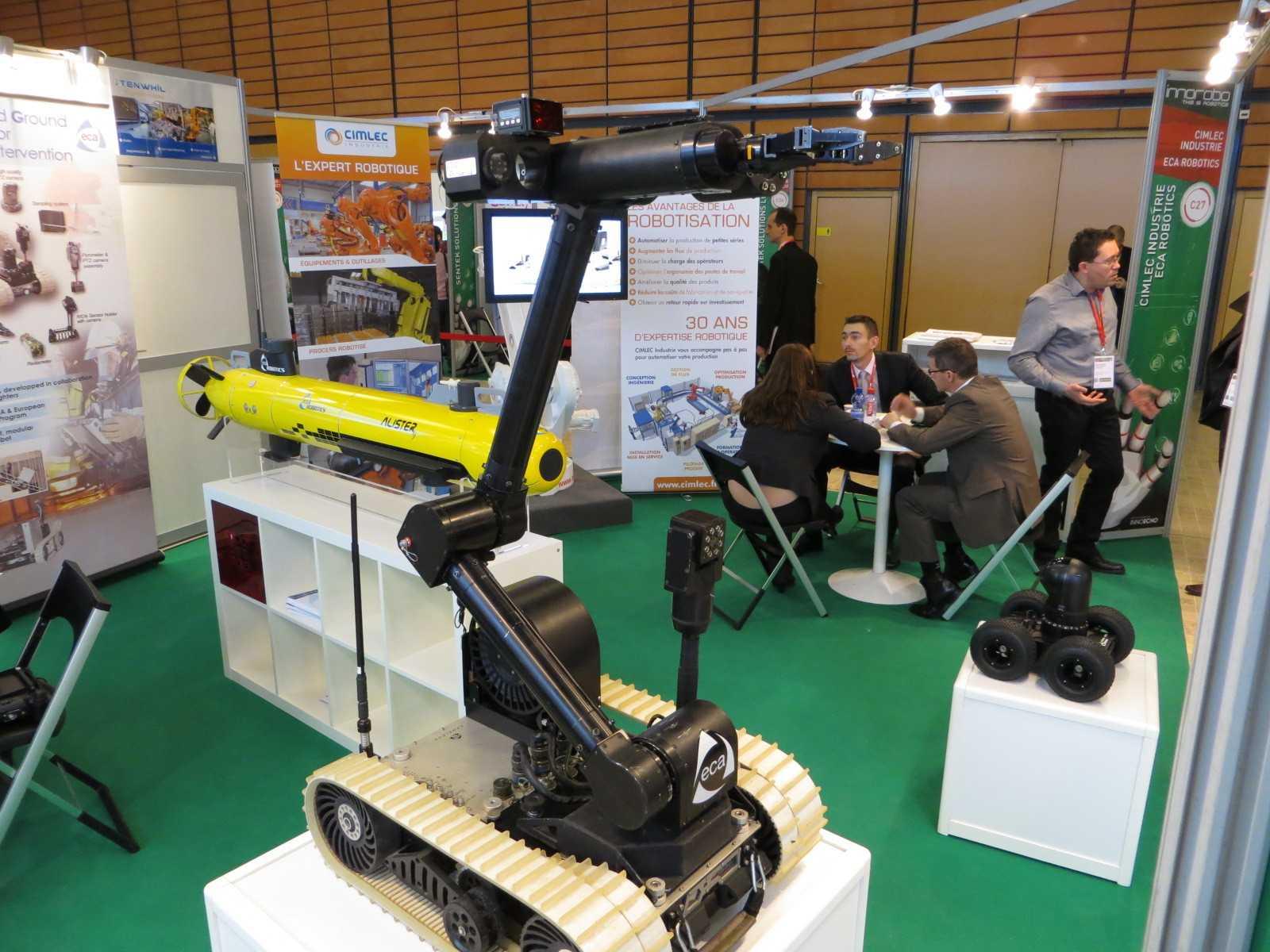 Militärische Anwendungen der Robotik, wie hier am Stand der französischen Firma ECA Robotics werden mittlerweile nicht mehr so rigide ausgeklammert wie noch vor Kurzem.