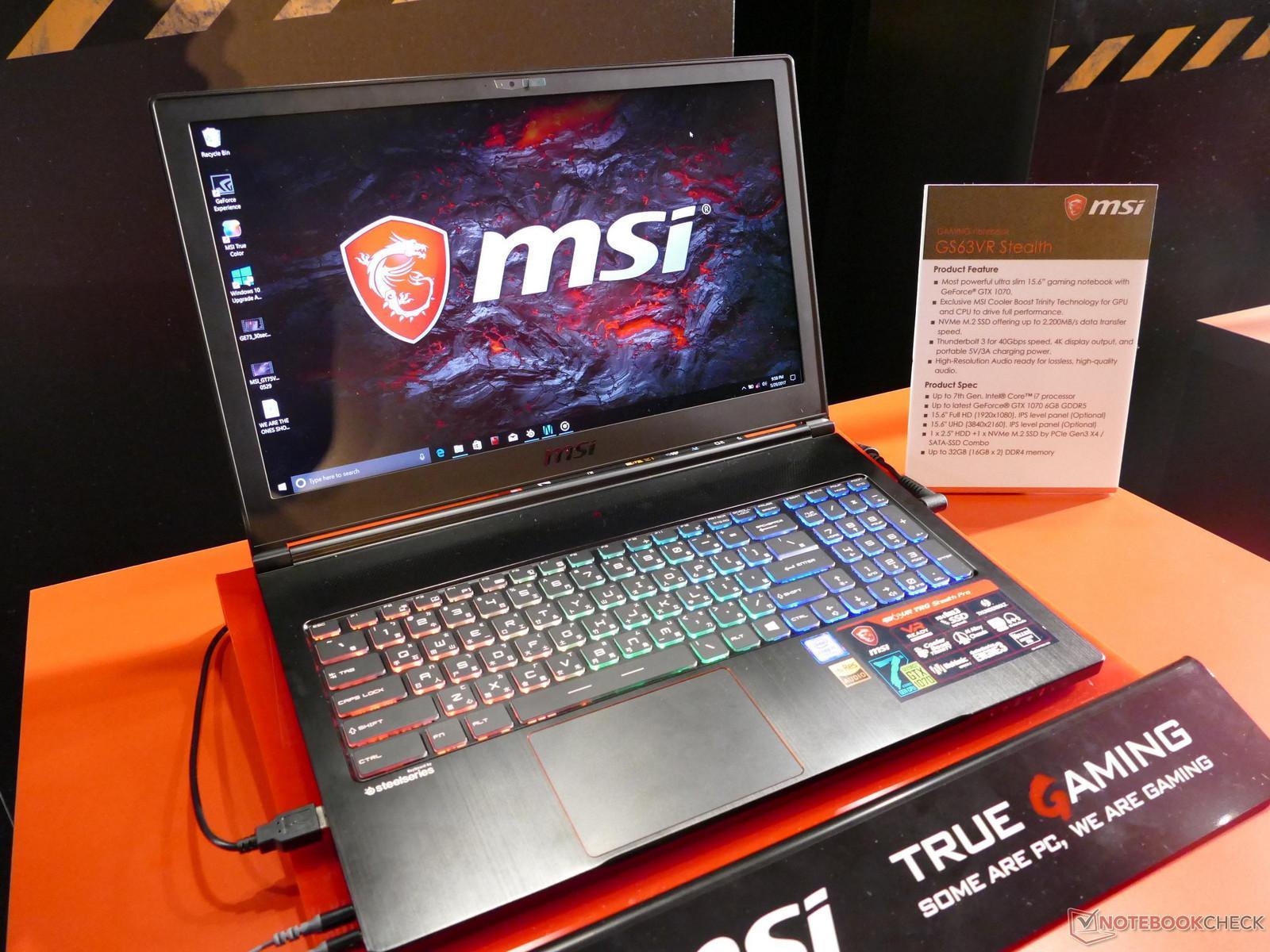 MSI Ultraslim Gamer GS63 VR