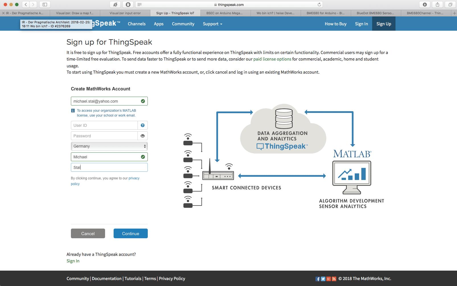 Anmeldung als neuer Nutzer auf der ThingSpeak
