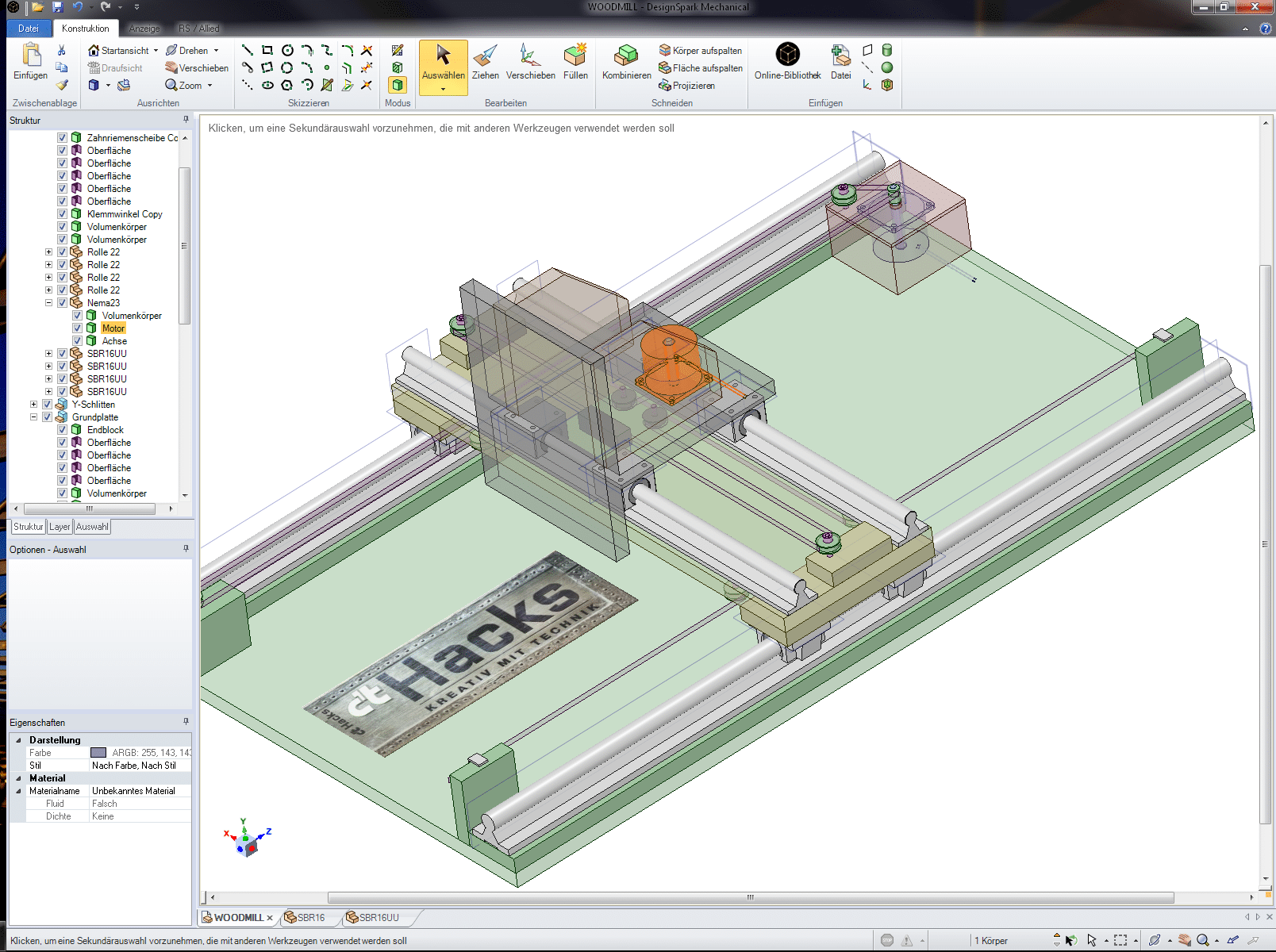 Modell unserer neuen CNC-Portalfräse aus Multiplex-Holz und Standard-Teilen, hier mit ausgeblendeten Bemaßungen.