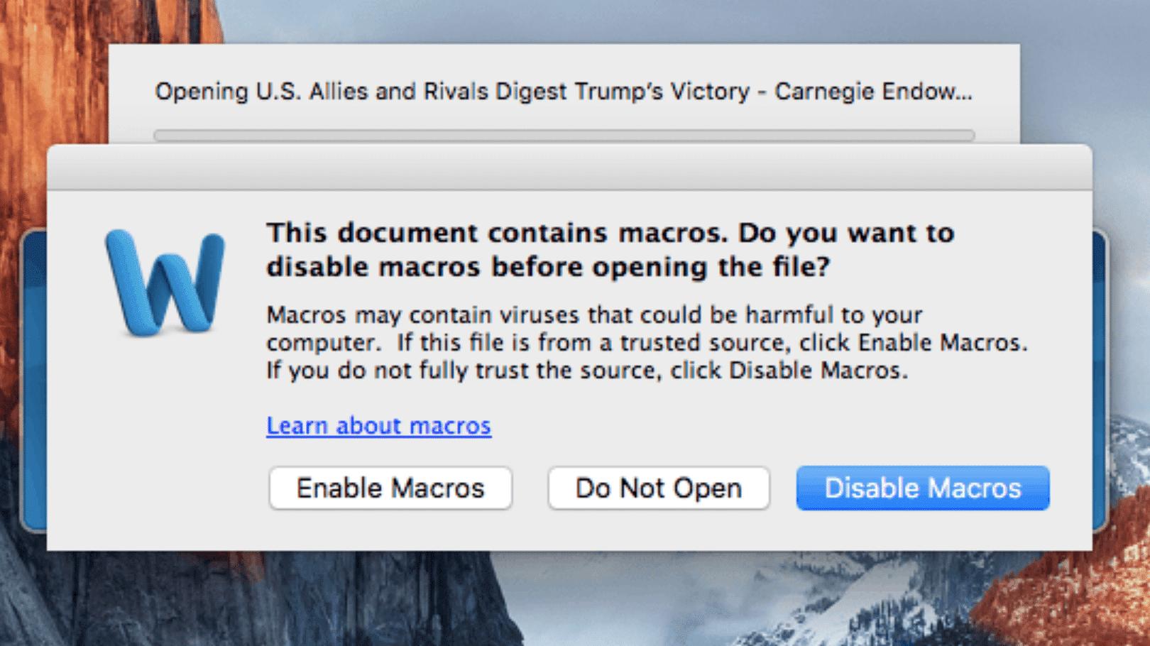 Makros-Warnung in Word