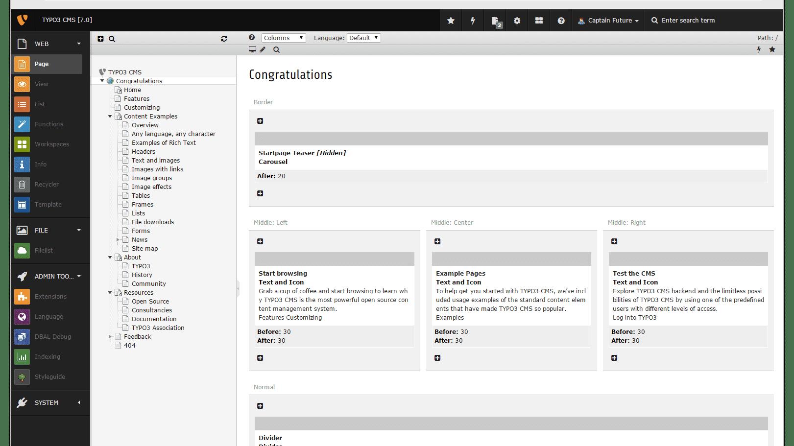 Typo3 CMS 7.0 mit schlankerem Backend