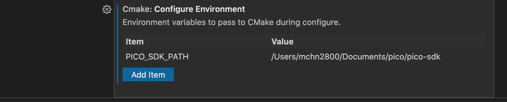CMake Tools benötigen die Angabe des Pico-SDK-Pfads