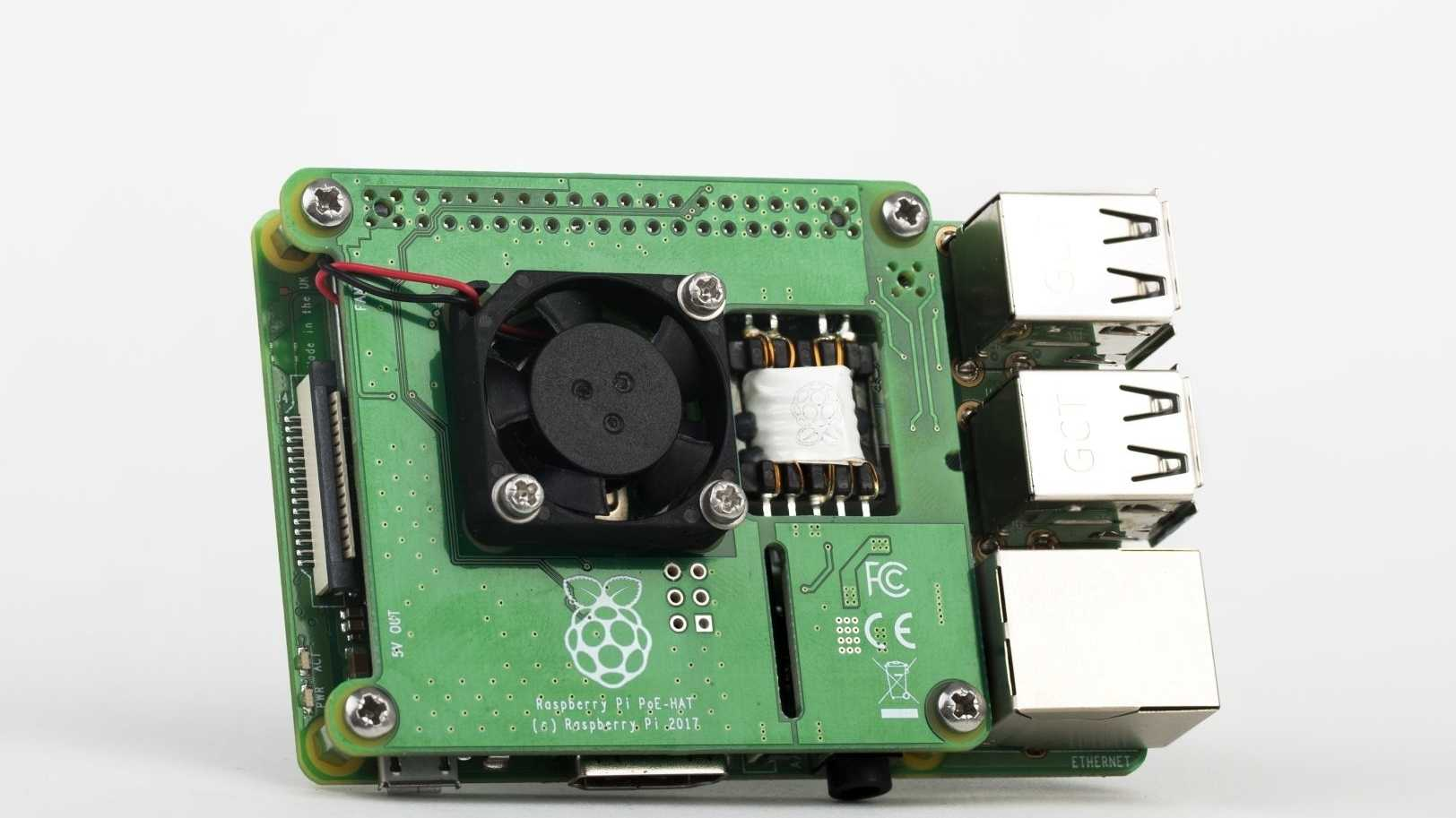 Raspberry Pi mit Power-over-Ethernet-Hat