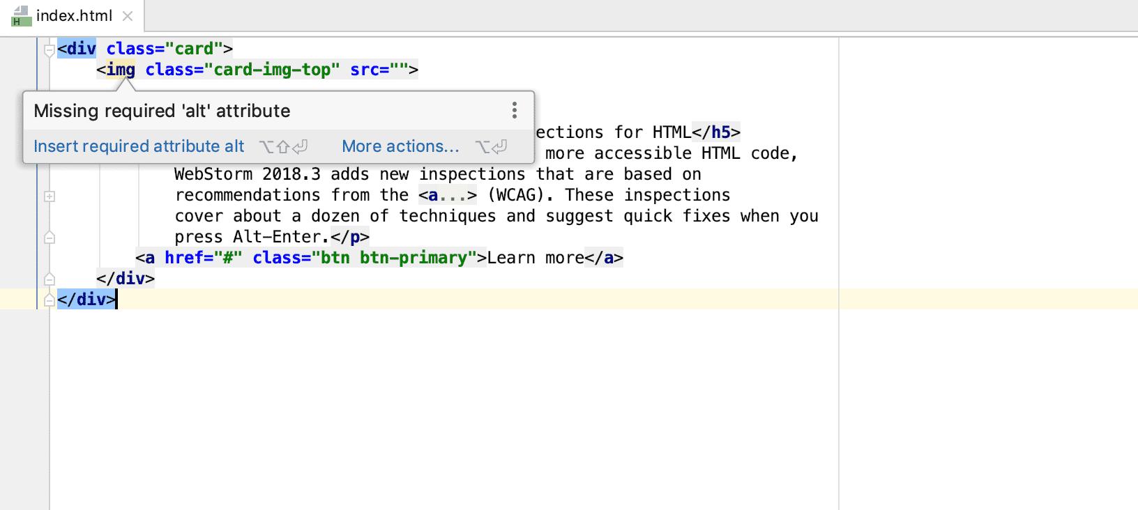 Accessibility-Inspections helfen beim Erstellen barrierefreier Inhalte in HTML.
