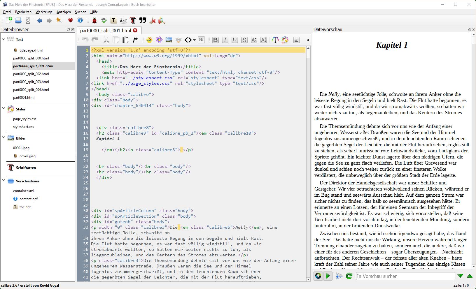 In Calibre kann man E-Books sogar mit einem WYSIWYG-Editor bearbeiten.