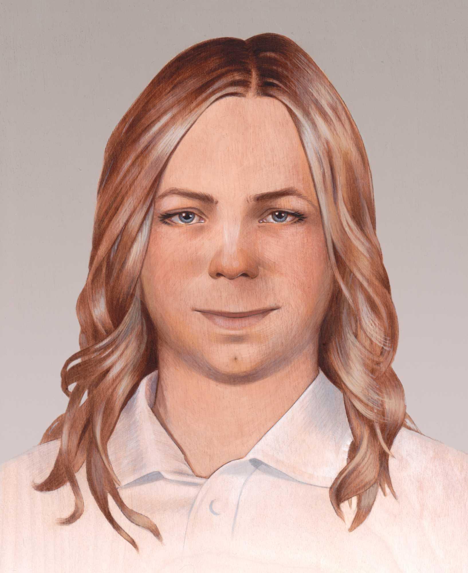 Gezeichnetes Porträt einer blonden Frau