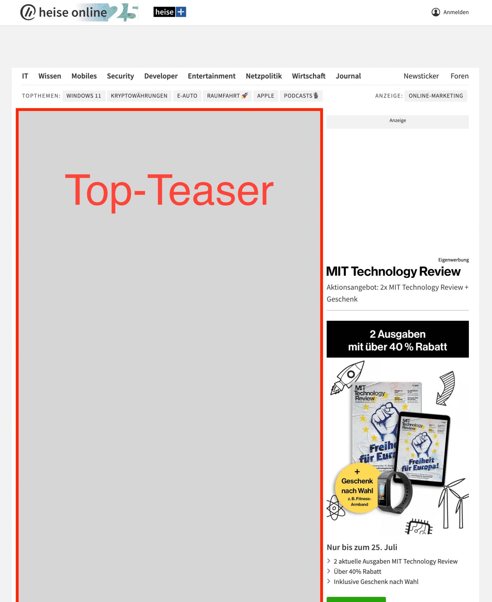 Top-Teaser-Bereich auf der heise online Startseite.