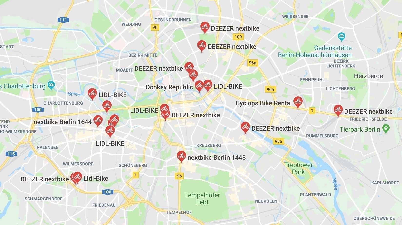 Bikesharing: Google Maps zeigt verfügbare Fahrräder in Berlin und Hamburg