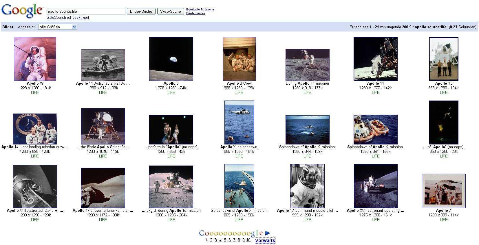"""Die Eingabe von """"Apollo source:life"""" führt bei Google derzeit zu rund 200 Bildern."""