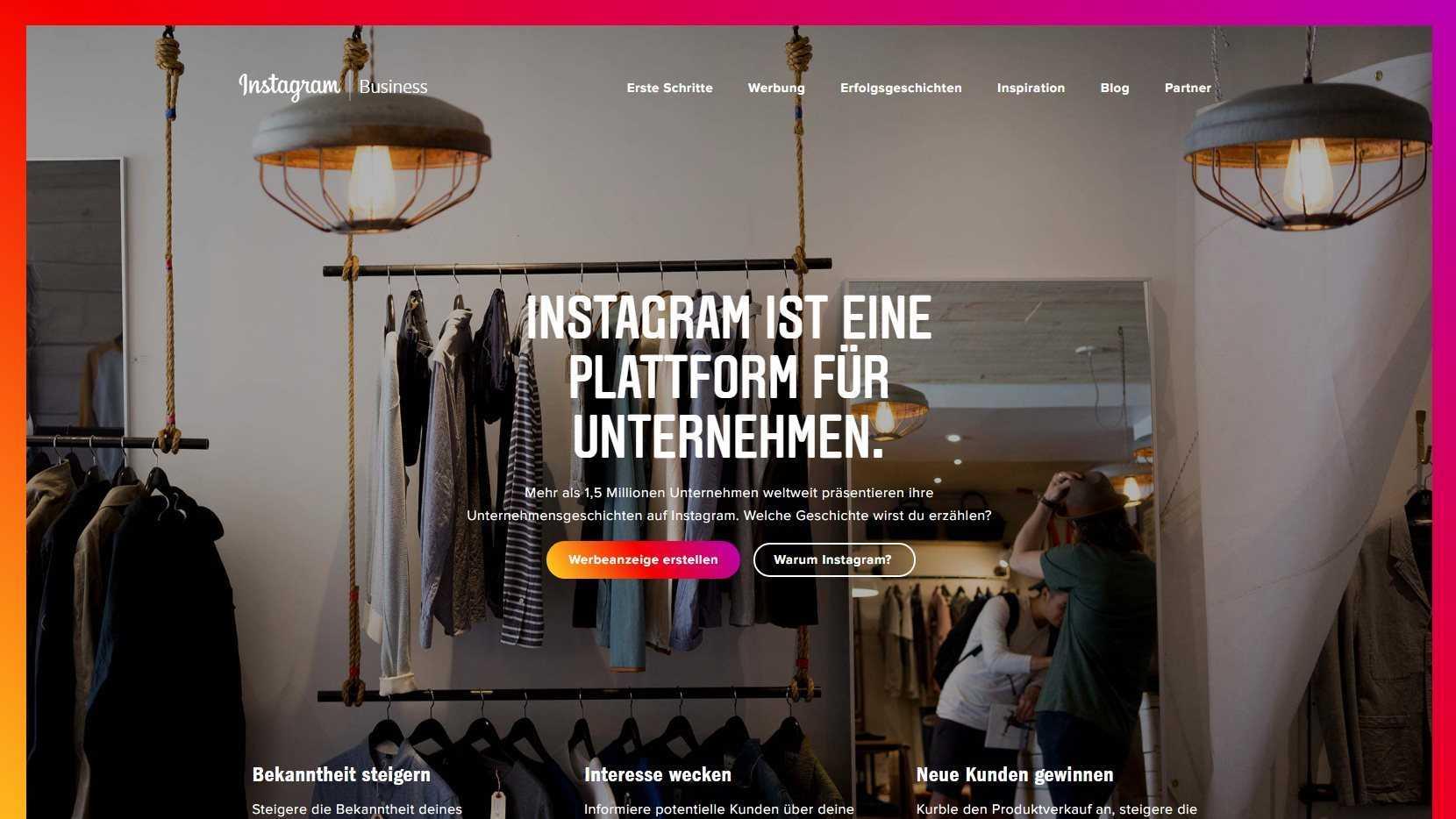 """Instagram ist soziales Fotonetzwerk und immer mehr eine """"Plattform für Unternehmen""""."""