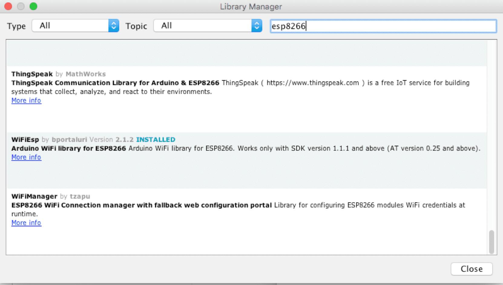 Suche ind er Arduino IDE nach einer ESP8266-Bibliothek.