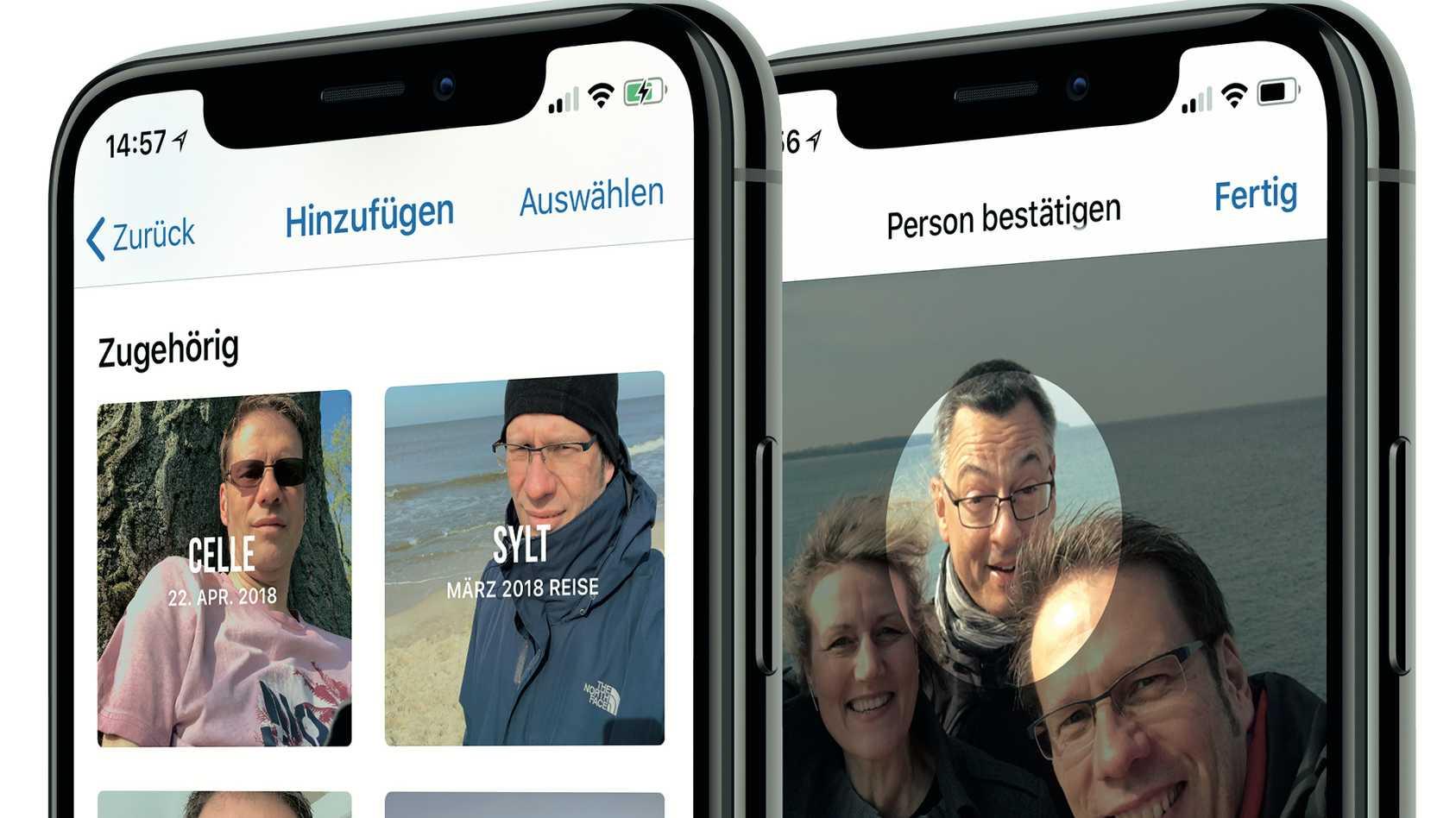 Gesichtserkennung Fotos auf iPhone