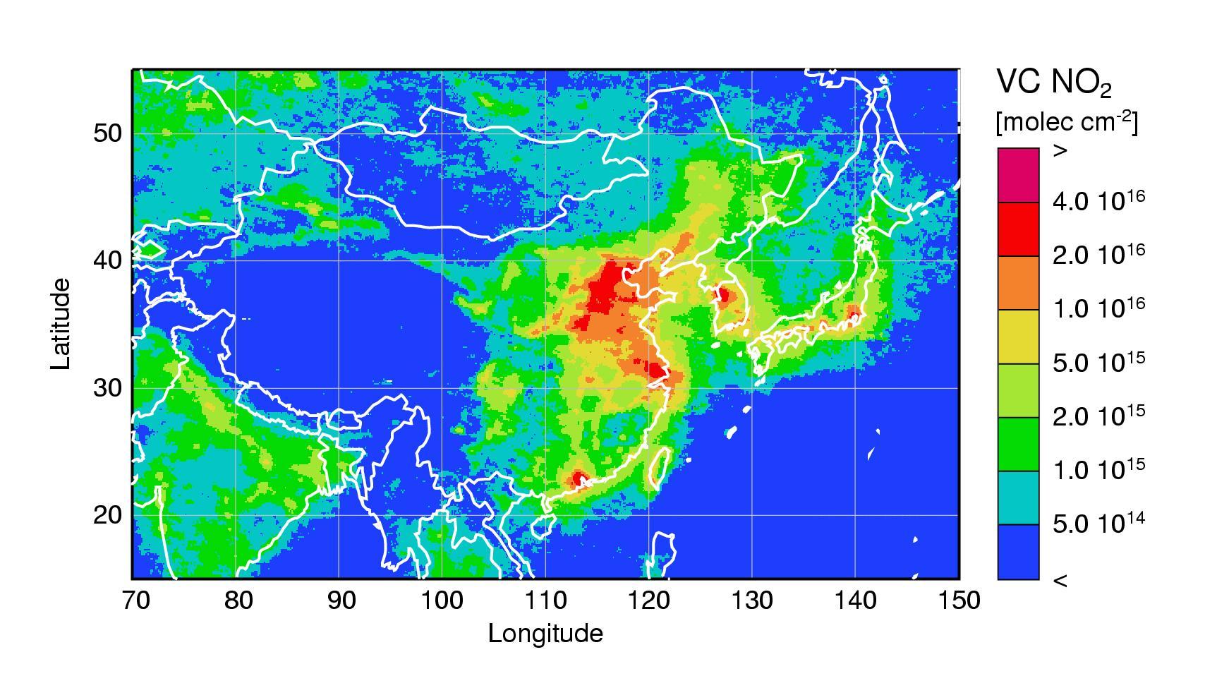 Stickstoffdioxidbelastung in China [250 x 136 Pixel @ 55,9 KB]