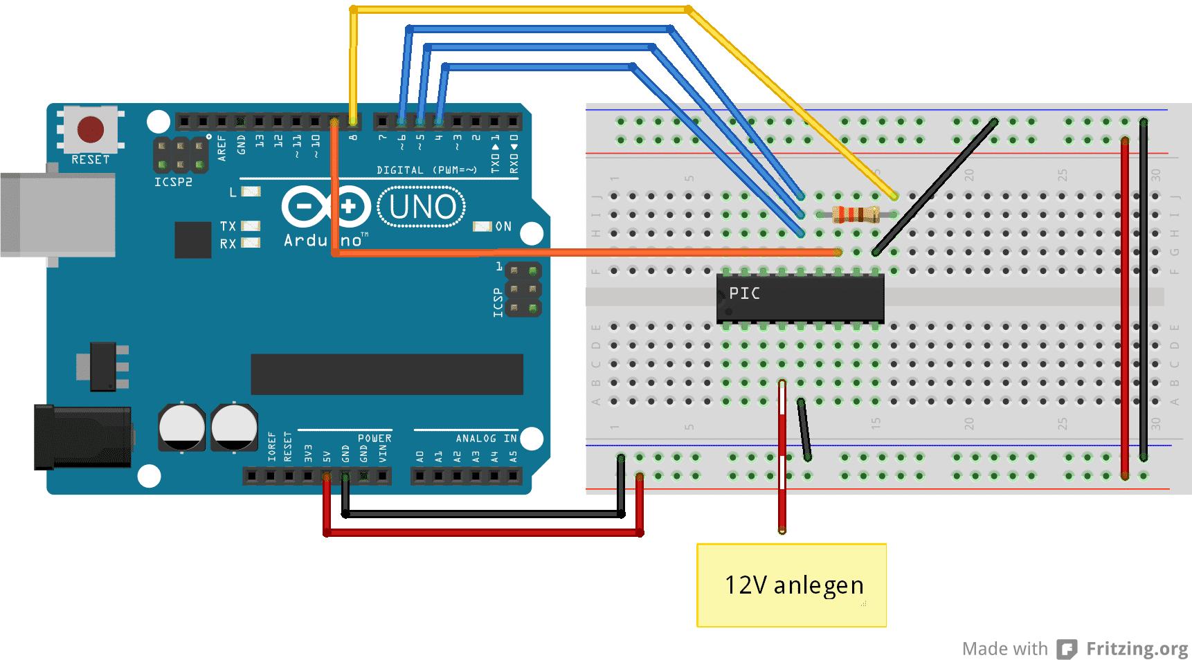 Arduino Uno als Programmer für PIC