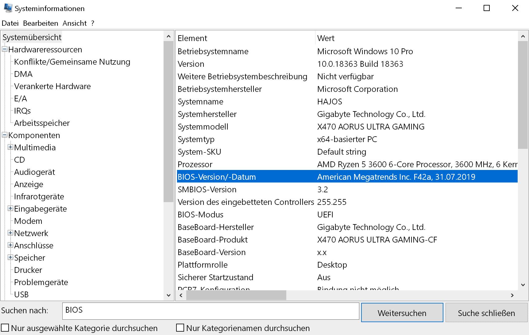 """Die """"Systeminformationen"""" präsentieren etliche Details über das Mainboard und dessen BIOS."""