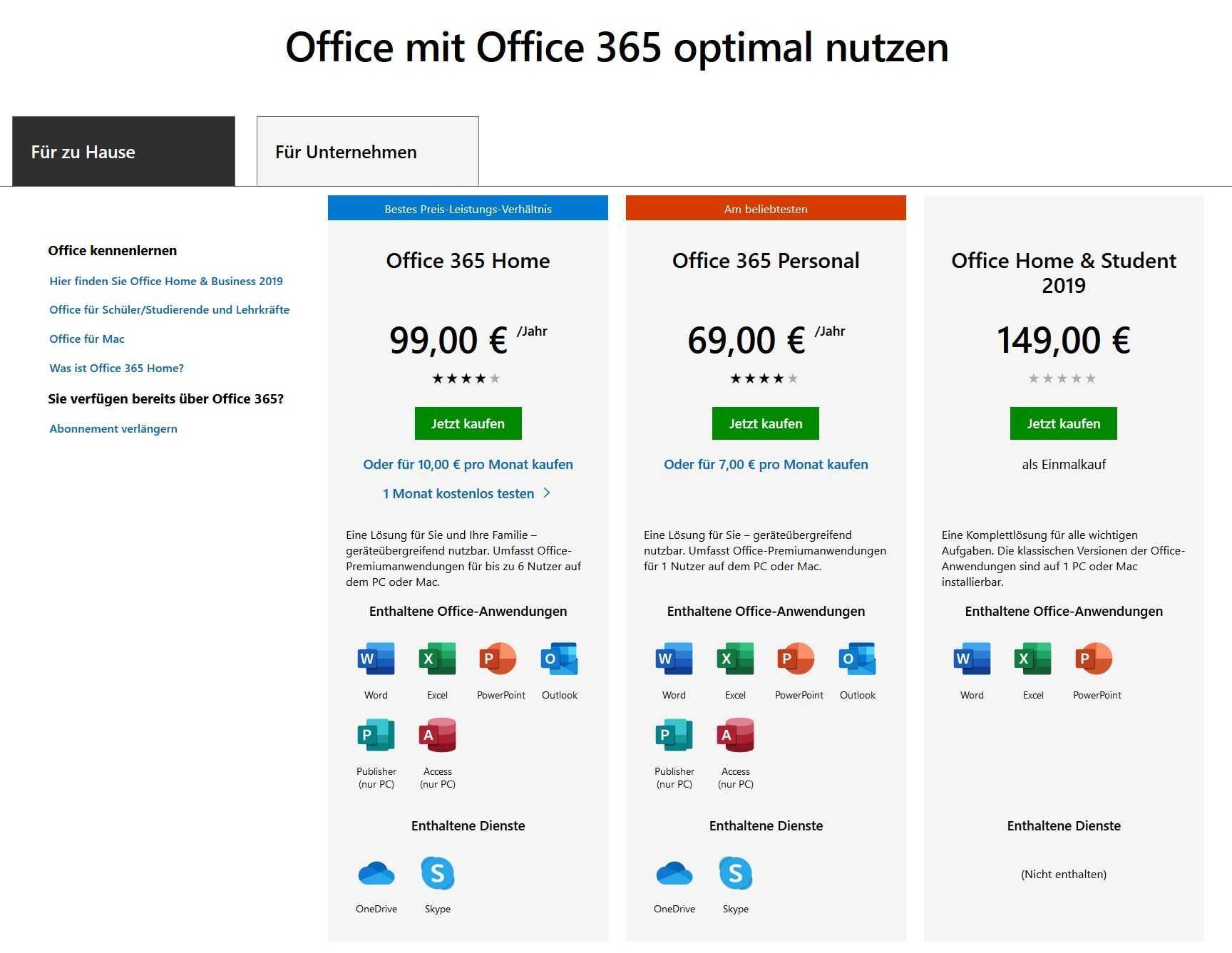 Für Privatnutzer kostet ein Office-365-Abo zwischen 70 und 150 Euro.