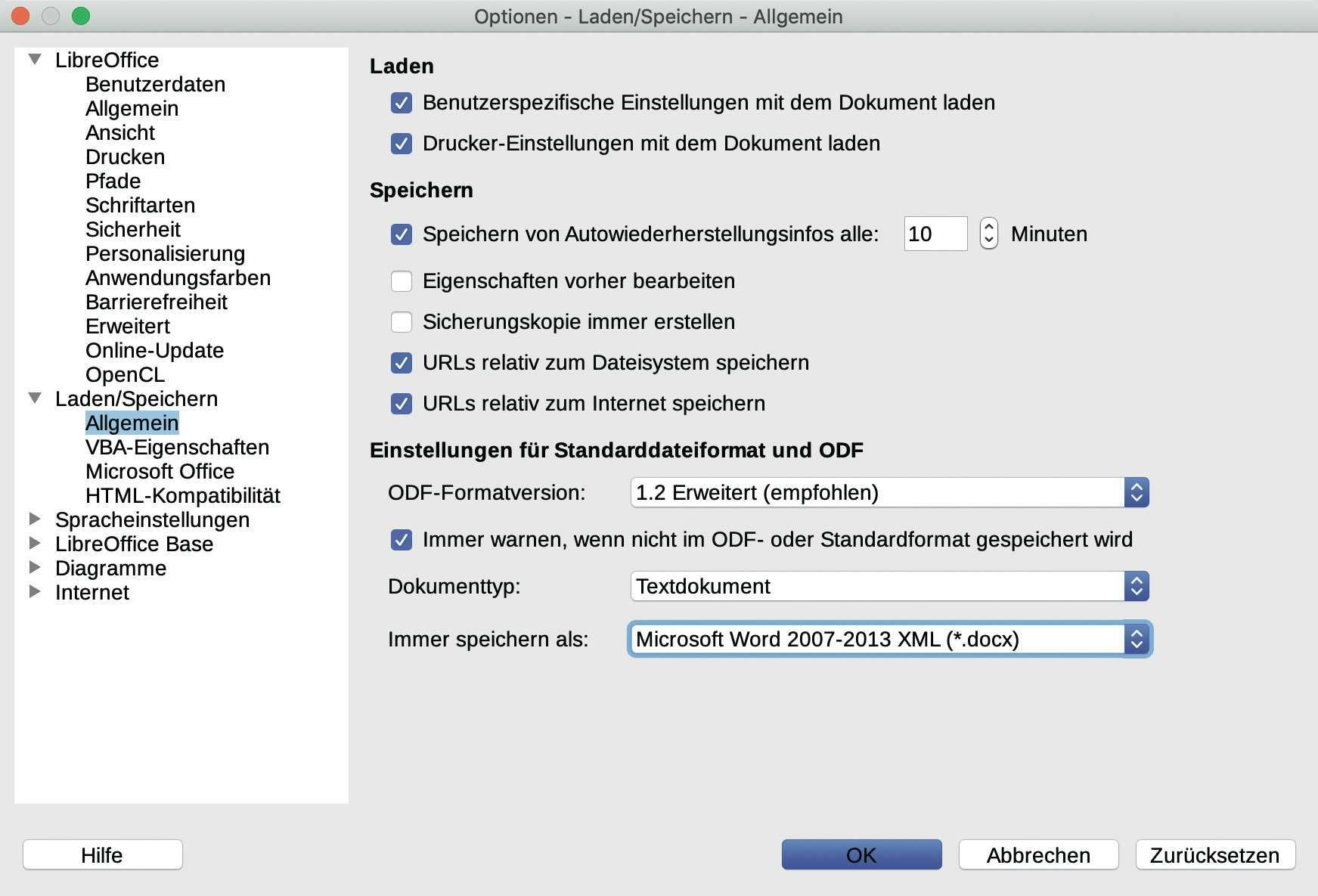 Word-Dokumente in LibreOffice öffnen