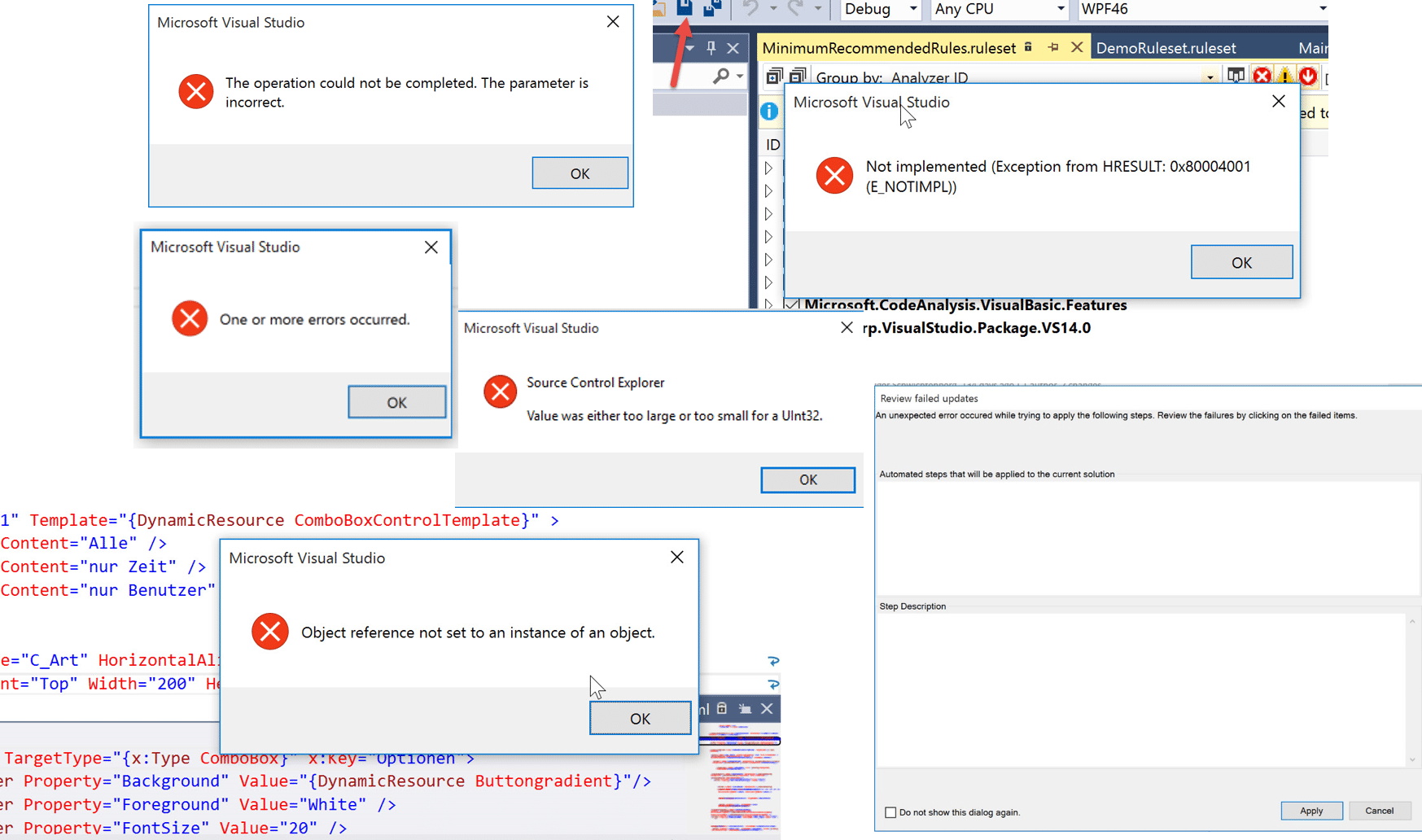 Bugparade für Visual Studio 2015