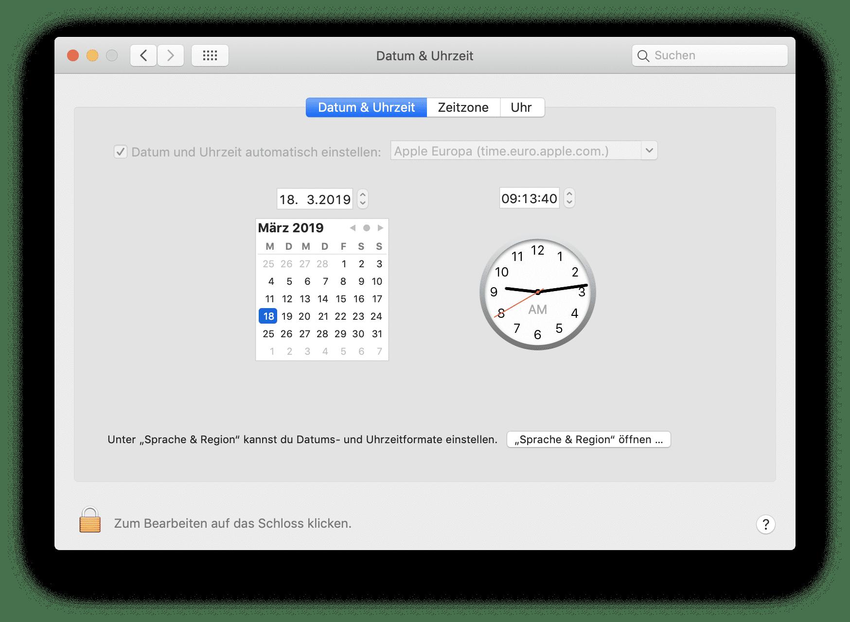 Das automatische Beziehen von Uhrzeitinformationen scheint ein Teil des Problems zu sein.