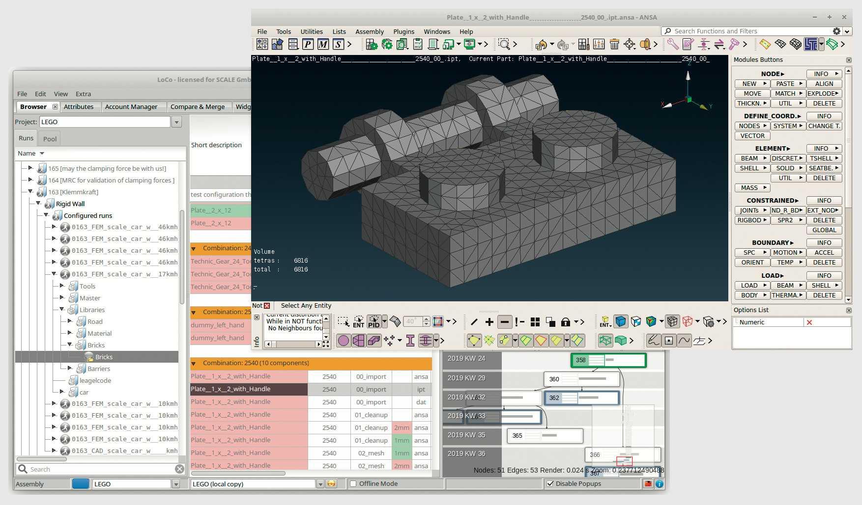 Beim sogenannten Vernetzen werden CAD-Daten in das FEM-Modell überführt. Nicht relevante Details wie der Lego-Schriftzug fallen dabei weg.