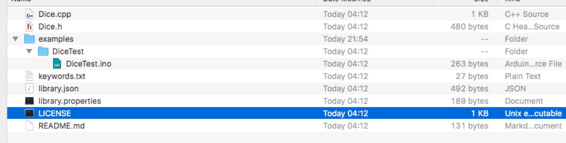 Das Verzeichnis für  die Beispielsbibliothek unter Mac OS X