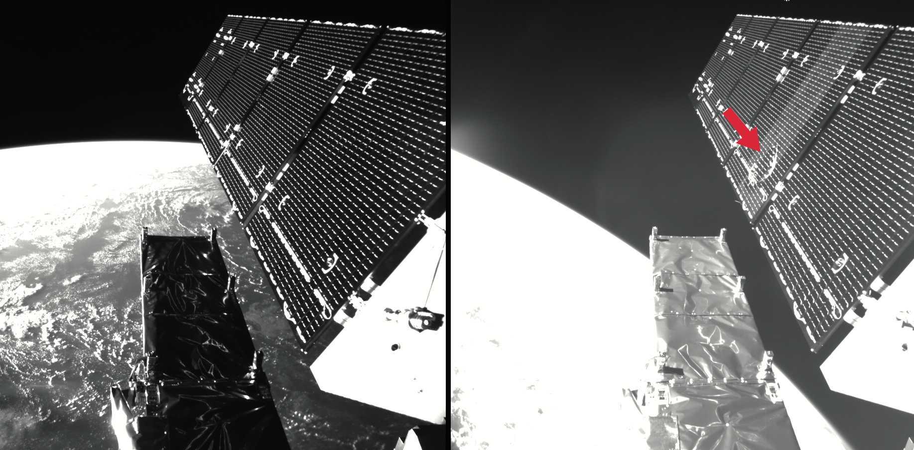 Beim ESA-Satelliten Sentinel-1 wurde ein Solarpanel von einem millimetergroßen Partikel getroffen (rechts: die Einschlagstelle).