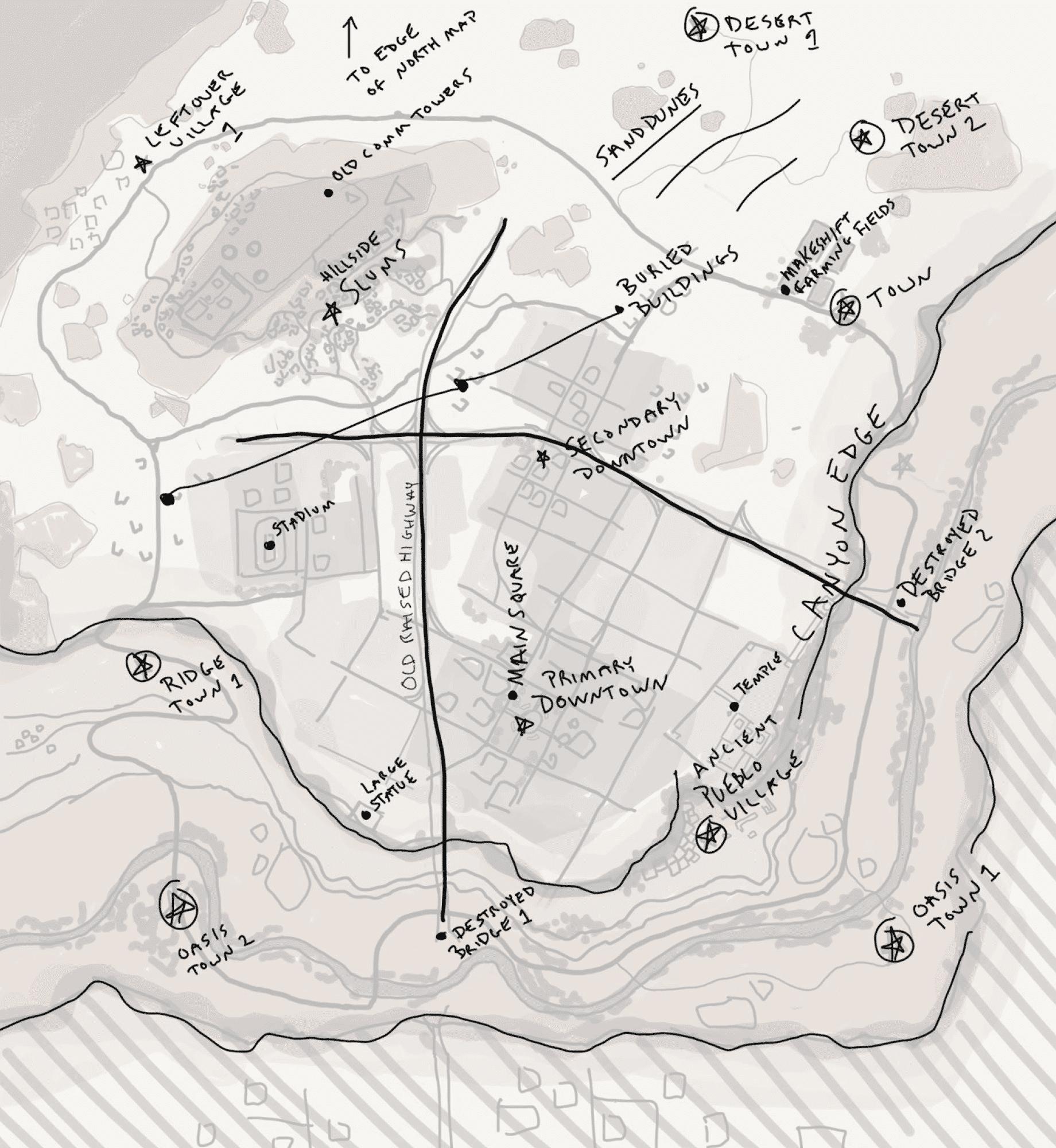 Skizze der Desert Map