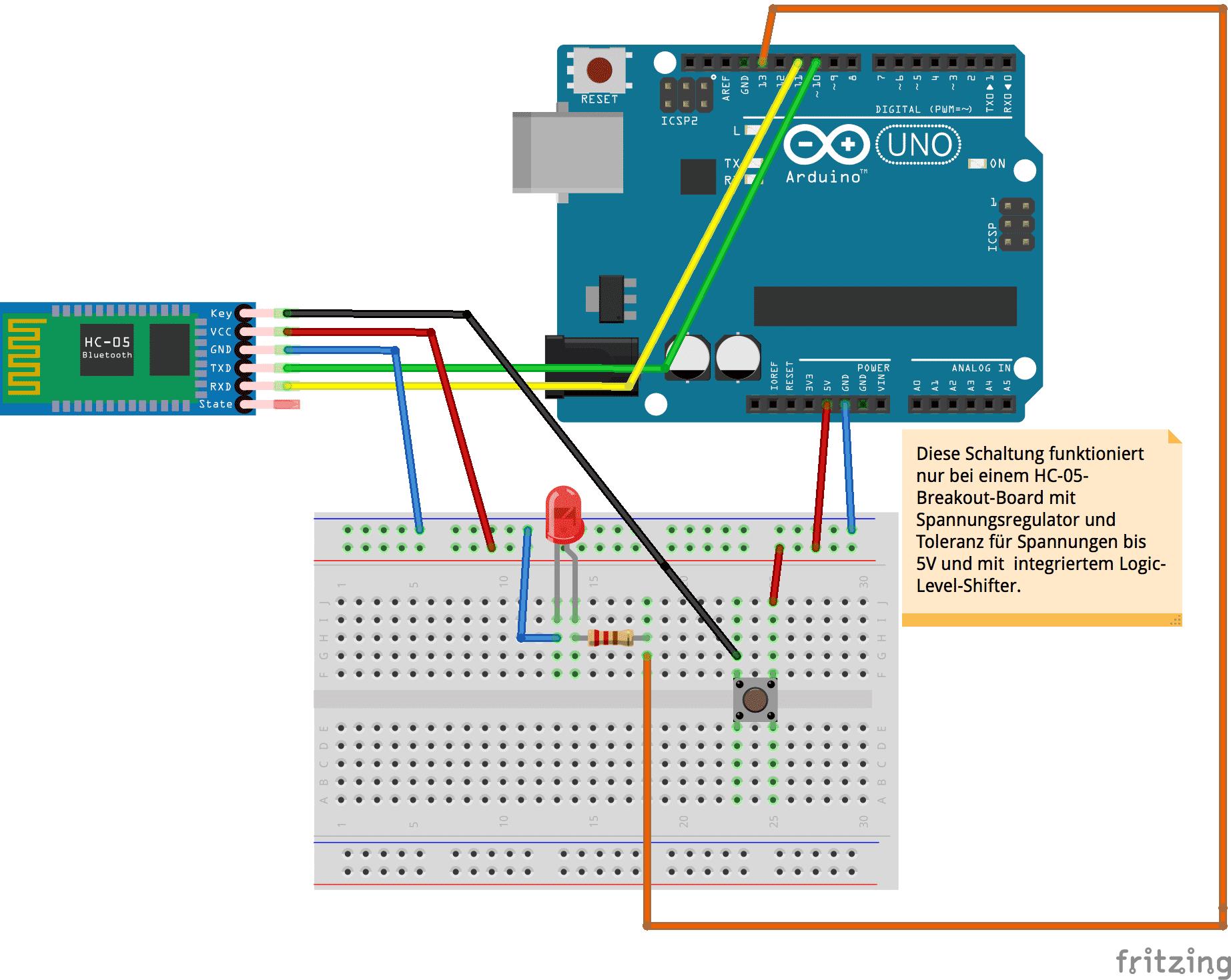 Schaltung mit Arduino Uno und HC-05