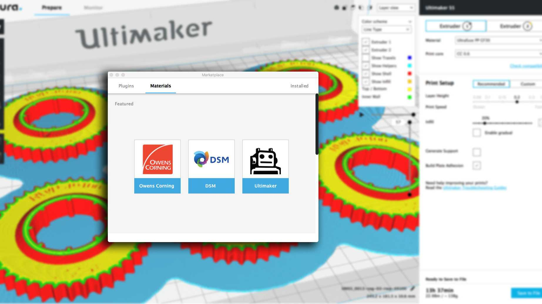 Screenshot Ultimaker Cura Marketplace