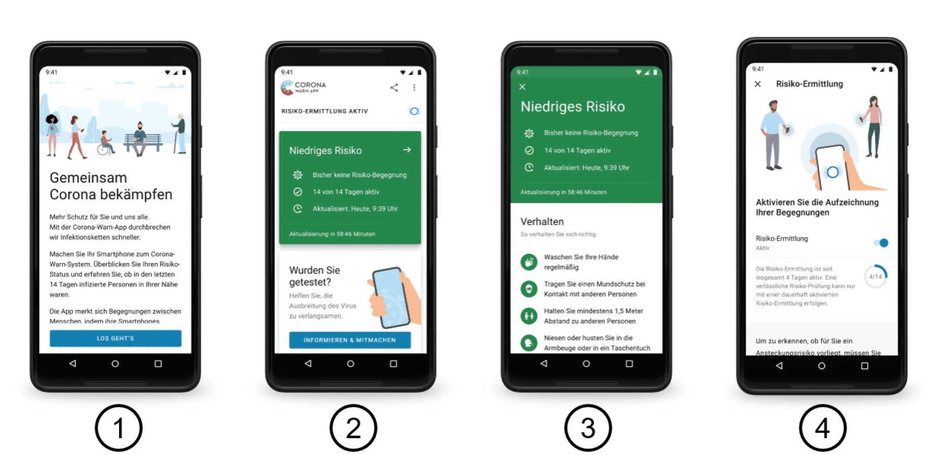 So soll die neue Corona-Warn-App von deutsche Telekom und SAP aussehen.
