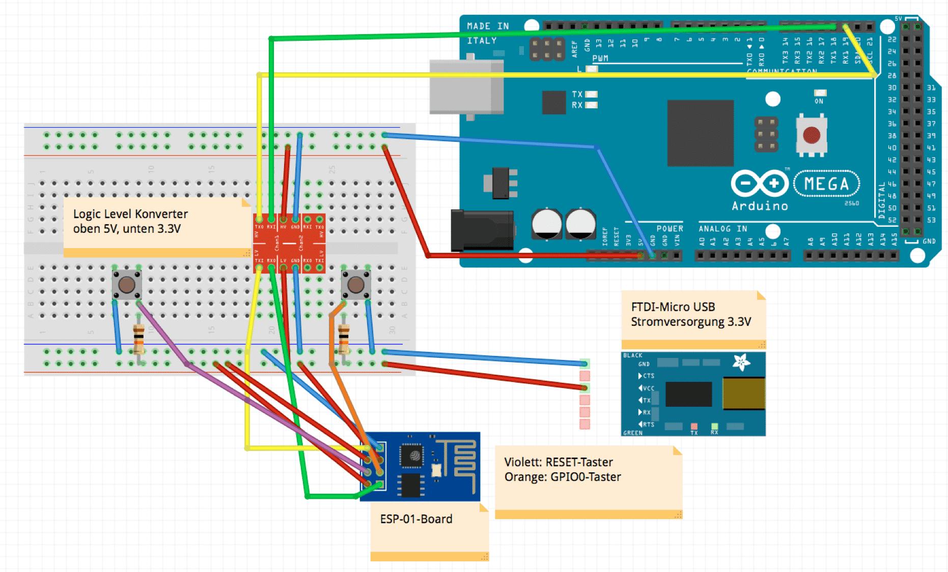 Das selbstgebaute ESP8266 Board oder Shield