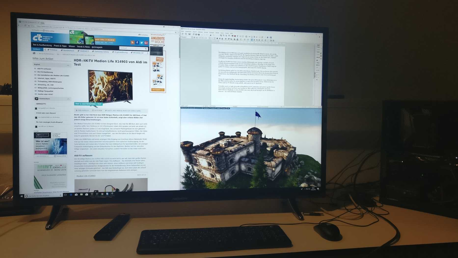 Das Medion.TV stellt PC-Signale pixelgenau dar und zeigt die Signale unverzüglich an.