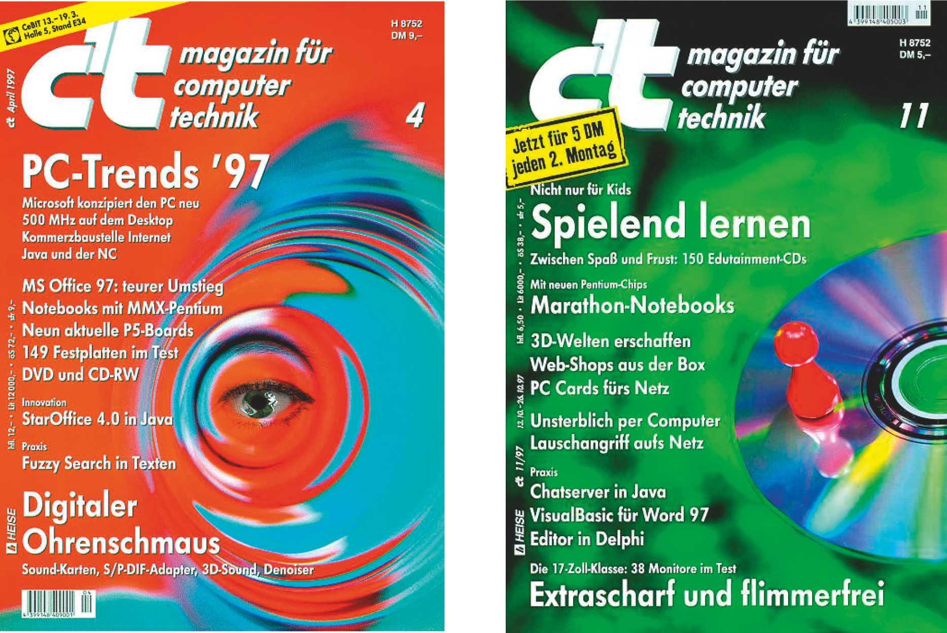 Heft 4/1997 umfasste stolze 614 Seiten. So konnte es nicht weitergehen. Ende des Jahres erschien dann die erste c't im 2-Wochen-Rhythmus (11/1997).
