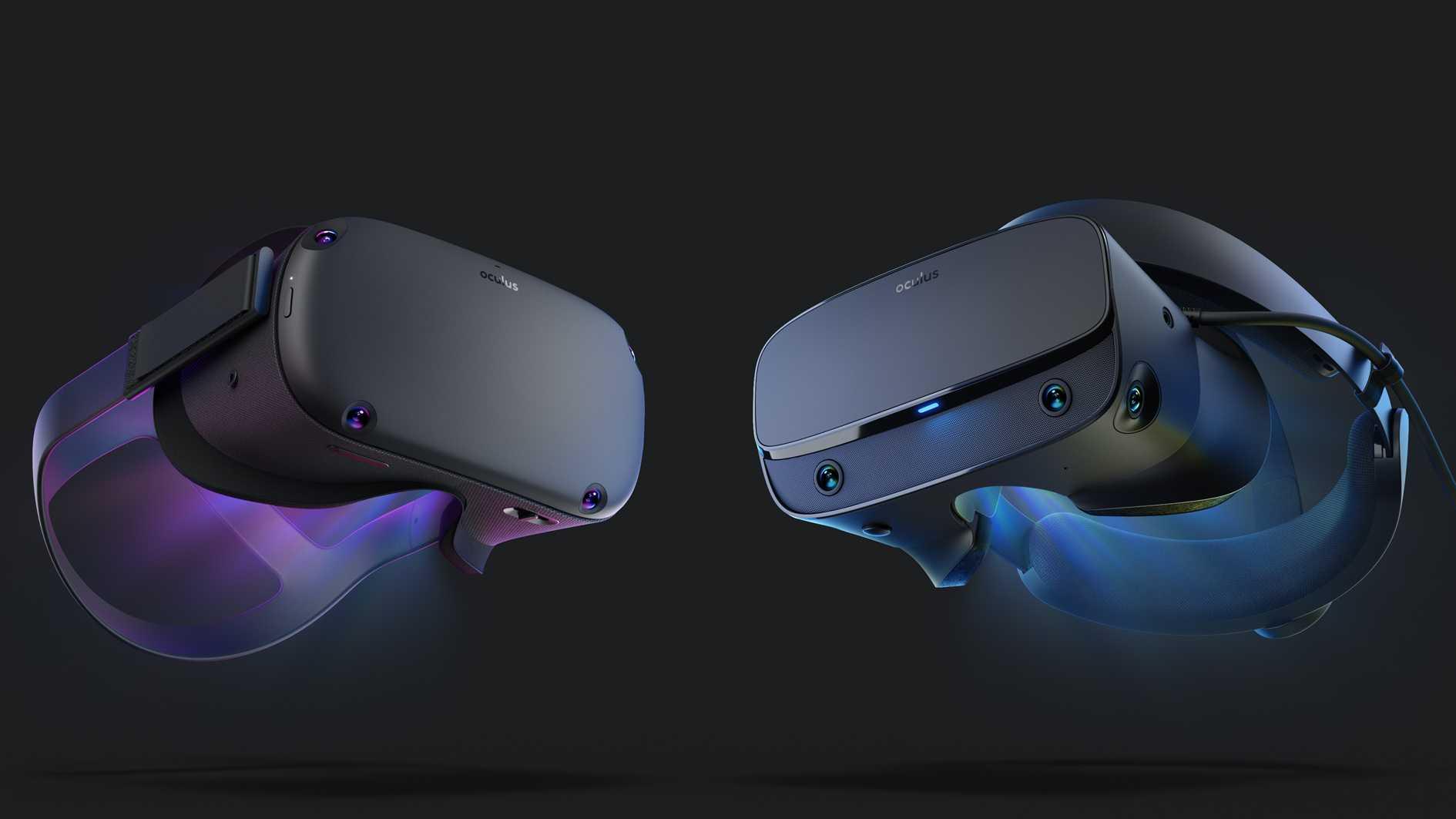 Kommen beide ohne externe Tracker aus: Oculus Quest (links) und Rift S.