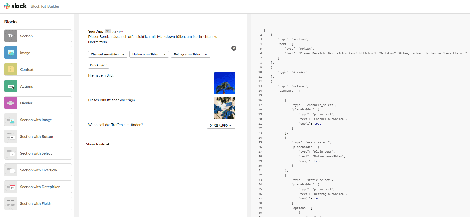 Der Block Kit Builder zeigt die JSON-Inhalte zusammen mit der grafischen Ansicht.