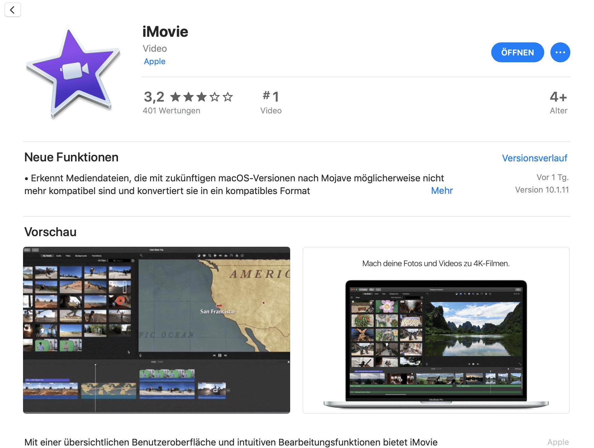 Die neue iMovie-Version soll ebenso wie Final Cut Pro in Zukunft inkompatible Medienformate  konvertieren.