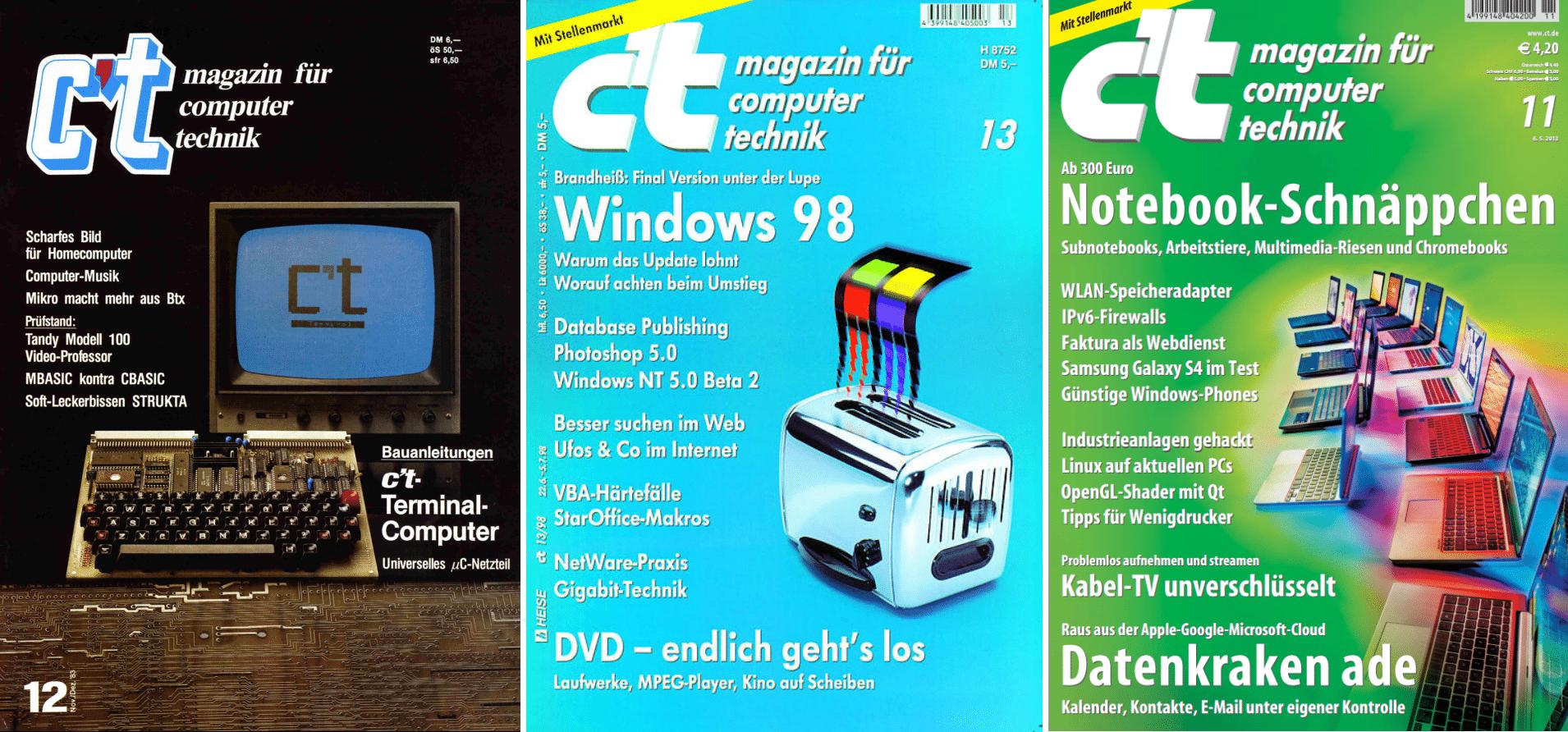 c't-Cover aus den Jahren 1983, 1998 und 2013.
