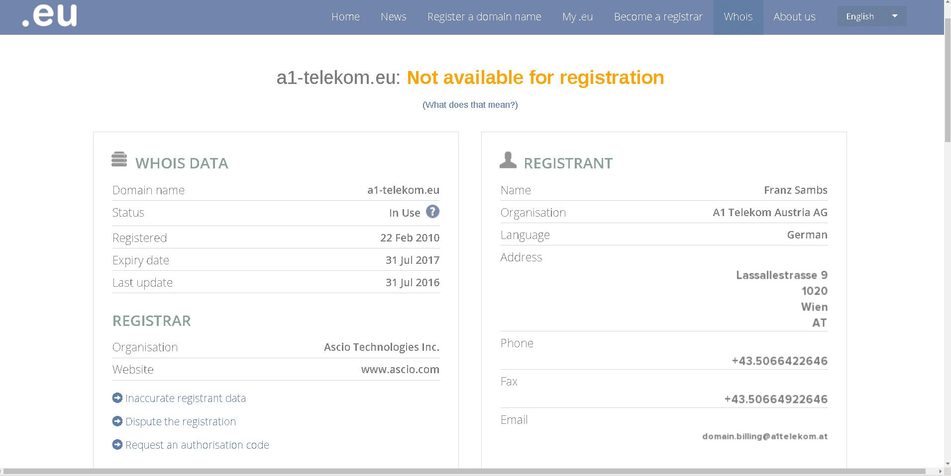 Die WHOIS-Informationen der Top-Level-Domain .eu werden als Bild ausgeliefert, um Spammern das automatisierte Abgreifen der persönlichen Daten zu erschweren.